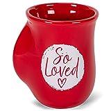 So Loved Heart Crimson Red 14 Ounce Ceramic Handwarmer Mug