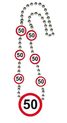 Folat 8714572287500 Geburtstags-Halskette mit Verkehrsschildern – 50 Geburtstag