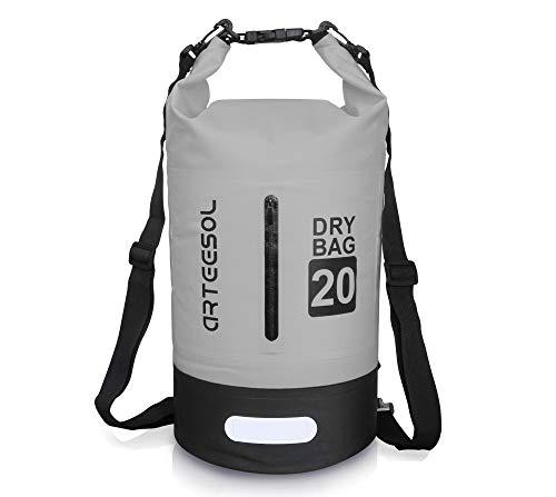 arteesol Dry Bag 5l/10l/20l/30l, wasserdichter Rucksack mit doppeltem Schultergurt, Rucksack für Schwimmen, Kajakfahren, Bootfahren, Angeln, Reisen, Radfahren, Strand, grau, (20L) UK