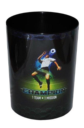 Papierkorb -  Fußball Champion  - Kunststoff - Mülleimer Eimer Aufbewahrungsbox für Kinder Jungen - Fussballer / Abfallbehälter / Abfalleimer Kinderzimmer -..