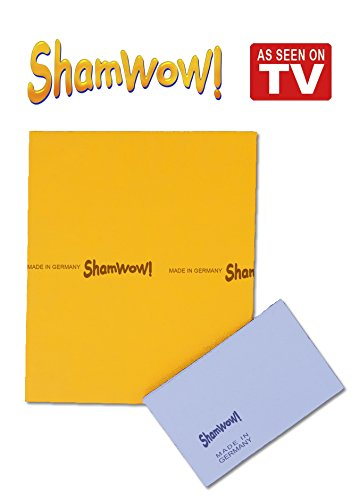 The Original Shamwow - Super Absorbent Multi-Purpose Cleaning Shammy (Chamois) Towel Cloth, Machine Washable, Will Not Scratch (2 Pack: 1 Large Orange and 1 Small Blue)