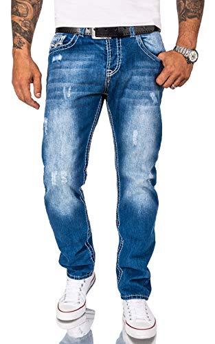 Rock Creek Herren Jeans Hose Comfort Fit Dicke Nähte Jeans Herrenjeans Herrenhose Denim Stonewashed Basic Weites Bein Raw RC-2268 Blau W32 L32