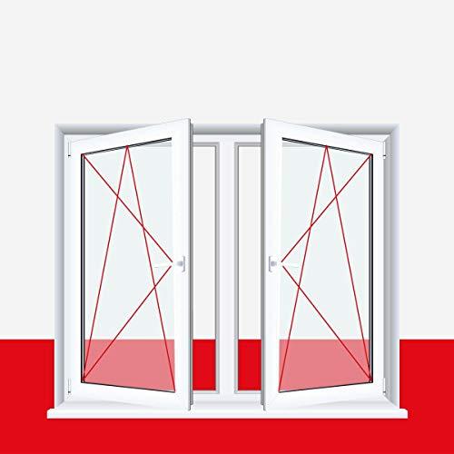 2-flügliges Kunststofffenster/PVC/Weiß Dreh-Kipp/Dreh-Kipp Fenster mit Pfosten alle Größen, BxH:1200x1000 (120x100 cm), Glas:3-Fach