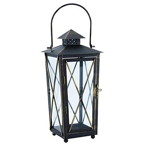 Huisdier kom retro zwart antieke lantaarn kaars houders voor binnen en buiten creatieve ijzer ambachten kat cadeau, 14x14x31cm, Zwart