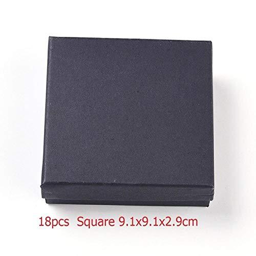 geschenkdoos LKU Vierkante/rechthoekige sieraden opbergdoos oorbellen ketting armband display geschenkdoos houder inpakpapier, 18st 9.1x9.1x2.9cm