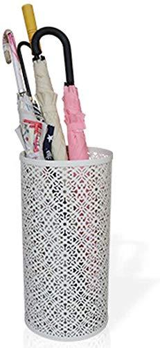 Paraplubak van wit metaal voor gebruik binnenshuis voor moderne entrees - rond voor wandelstokken (kleur: wit maat: 24 & times; 24 & times; 48 cm) 24 × 24 × 48 cm, wit.