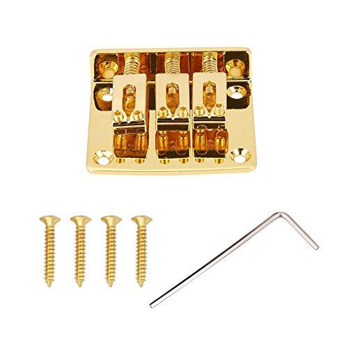 E-Gitarren 3-saitige Fixed Bridge Ersatzteile für Cigarbox E-Gitarren(Gold)