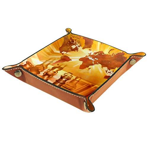 Chuangxin Global Business - Bandeja de escritorio de piel de microfibra, práctica caja de almacenamiento para carteras, llaves y equipo de oficina, cajas de almacenamiento para niños, 20,5 x 20,5 cm, multicolor, 16x16cm