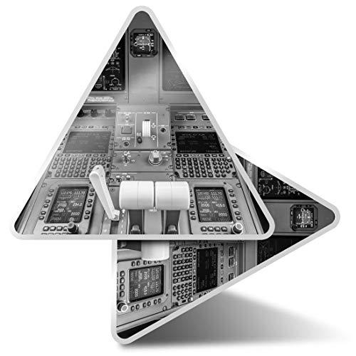 2 pegatinas triangulares de 7,5 cm – BW – Avión cabina Avión Piloto Fun Calcomanías para portátiles, tabletas, equipaje, reserva de chatarra, neveras #36575