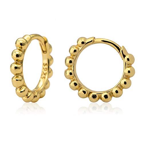 WILD SUN Kleine Creolen Gold mit Kugeln Damen Ø 12mm   Zarte Kugel Kreolen Klein für Frauen   Hochwertige Goldene Huggie Hoops Ohrringe aus 925 Silber mit 18K vergoldet