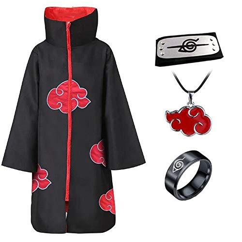 Anime Naruto Umhang Akatsuki/Uchiha Itachi Cosplay Kostüm Party Halloween Umhang mit Stirnband Ring Halskette Gr. L, mehrfarbig