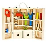 Tooky Toy – Juego de carpintero, caja de herramientas. Juguete educativo de madera a partir de 3 años
