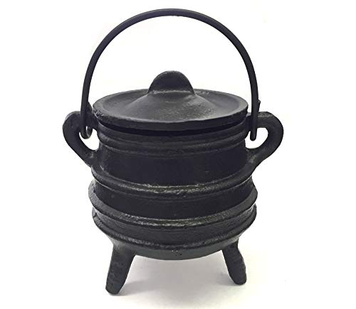 """New Age Imports, Inc. Cast Iron Cauldron w/handle & lid, ideal for smudging, incense burning, ritual purpose, decoration, halloween decoration, candle holder, etc. (Ribbed Style 4"""" High, 2.25"""" Dia)"""