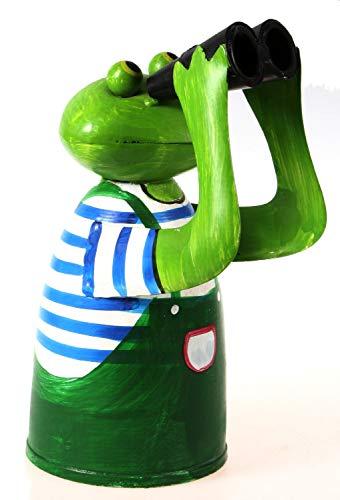 Schick-Design Zaunhocker Frosch mit Fernglas und blauem Shirt aus Blech 21 cm Figur Metall Deko Garten Balkon Dekofigur Pfostenhocker