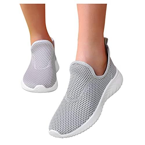 Briskorry Zapatillas deportivas para mujer, para el tiempo libre, con cojín de aire, transpirables, con cordones, ligeras, antideslizantes, resistentes a los golpes, para actividades al aire libre