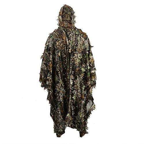 Regen Poncho, Levensechte 3D Leaves Camouflage Poncho Cloak Stealth Suits Outdoor Woodland Game Kleding Voor Bird Watching, Verbergen, Schieten