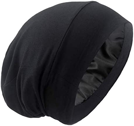 Satin Lined Hair Cover Sleep Cap Adjustable Stay on No Fading Slouchy Skull Night Sleeping Beanie product image