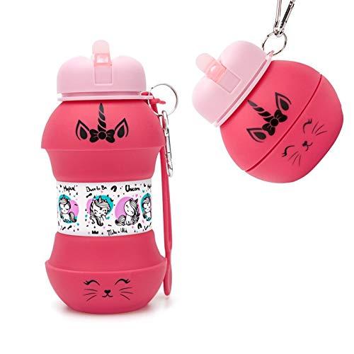AToZ UK Botella de Agua Unicorn para niñas, Botella de Agua Reutilizable de Silicona Plegable de 550 ml, sin BPA, a Prueba de Fugas, Divertido diseño de Bola única con Estampado Exclusivo (Sandía)