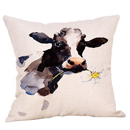 FeiliandaJJ Kissenbezug Ölgemälde Kuh Muster Kissenhülle Kopfkissenbezug Home Dekoration Pillowcase Super Weich Sofakissen für Wohnzimmer Sofa Bed,45x45cm (C)