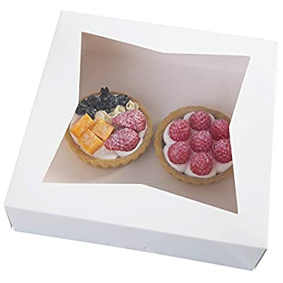 """[15pcs]9""""White Cookie Bakery Boxes,Large Kraft Paperboard Pie Boxes with Auto-Popup Window Disposable Pastries Box 9x9x2.5inch,Pack of 15"""