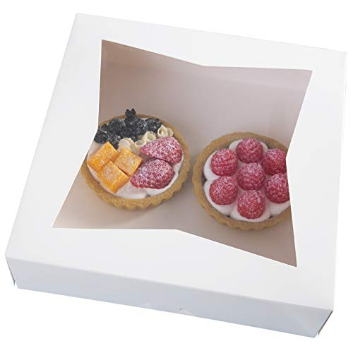 25pcs10White-Cookie-Bakery-BoxesLarge-Kraft-Paperboard-Pie-Boxes-with-Auto-Popup-Window-Disposable-Pastries-Box-10x10x25inchPack-of-25-White-25