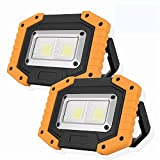 OTYTY 2 COB 30W 1500LM LED Work Light, Rechargeable Portable...