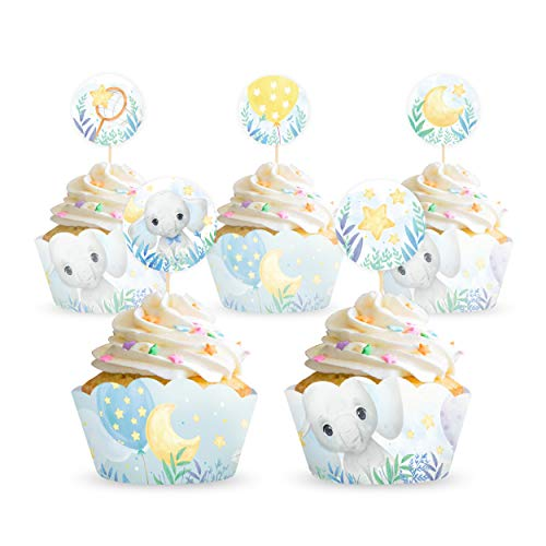 32 Pcs Blue Elephant Baby Shower Boy Cupcake Wrappers And Toppers Serves 16 Guests | 16 Cupcake Reversible Wrappers & 16 Toppers