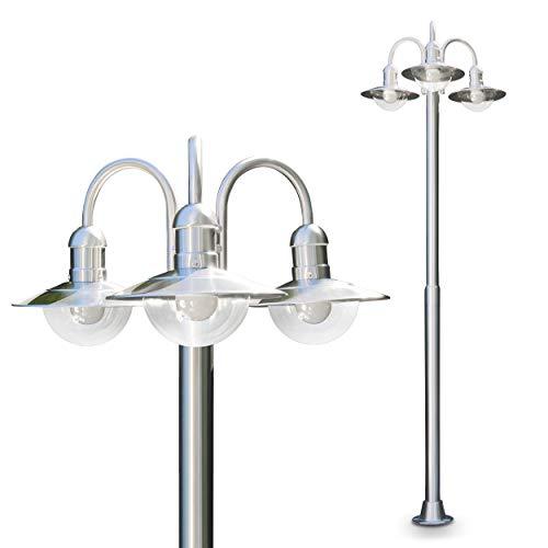 Außenleuchte Elima, Kandelaber aus Edelstahl in modernem Design, mit Lampenschirmen aus Glas, 3-armige Wegeleuchte 200 cm, Gartenlampe mit E27-Fassung, je max. 60 Watt, IP44