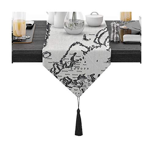Rubyia Camino de Mesa Impermeable, Patrón de Mapa Corredor Mesa Decoración del Hogar Comedor Fiestas Boda, Algodón, 30 x 180 cm, Gris Negro