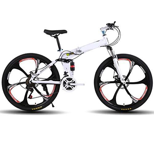 LYzpf Bicicleta de Montaña MTB Plegable 26 Pulgadas 21 Velocidades Aleación Marco Más Fuerte Freno Disco para Hombre Adulto Mujer Estudiante,White-1,26inch-21S