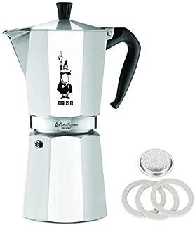 Original Bialetti 12-Espresso Cup Moka Express   Espresso Maker Machine with Extra Genuine Bialetti Replacement Filter and Three Gaskets Bundle (12-cup, 25 fl oz, 775 ml)