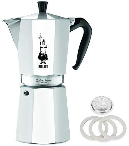 Original Bialetti 12-Espresso Cup Moka Express | Espresso Maker Machine with Extra Genuine Bialetti Replacement Filter and Three Gaskets Bundle (12-cup, 25 fl oz, 775 ml)