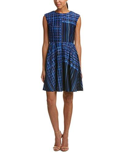 Donna Morgan Damen Cap Sleeve Fit and Flare Kleid, Marineblau/Hellblau/Mehrfarbig, 44