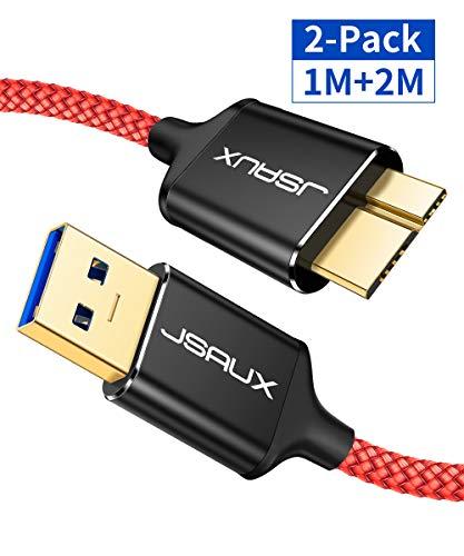 JSAUX Micro USB 3.0 Kabel 1M+2M [2 Pack],USB A Stecker auf Micro B Stecker 3.0 Festplattenkabel für Seagate, Toshiba Canvio, Western Digital(WD)My Passport und Elements, Samsung Galaxy S5, Note 3 Rot