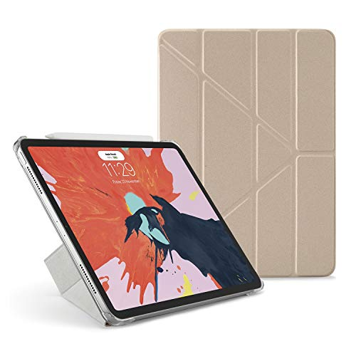 Pipetto Origami - Funda para iPad Pro de 11 Pulgadas (2018) con Soporte 5 en 1 y función de Encendido y Apagado automático, Compatible con Apple Pencil 2, Color Dorado y Transparente
