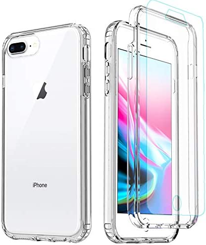 iPhone 8 Plus Case iPhone 7 Plus Clear Case Tempered Glass Screen Protector Full Body Protective product image