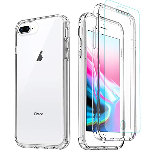 iPhone 8 Plus Case,iPhone 7 Plus Clear Case,[Tempered Glass Screen Protector] Full Body Protective Shockproof Hard Plastic & Soft TPU Case for iPhone 8/7/6 Plus (5.5 inch) Clear