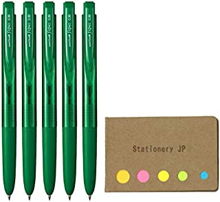 Uni-ball Signo RT1 Retractable Gel Ink Pen, Micro Point 0.38mm, Rubber Grip, Green Ink, 5-Pack, Sticky notes Value Set