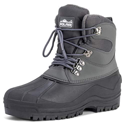 Mens Snow Waterproof Duck Hiking Bean Hiker Walking Short Ankle Boots - Gray - US11/EU44 - YC0441