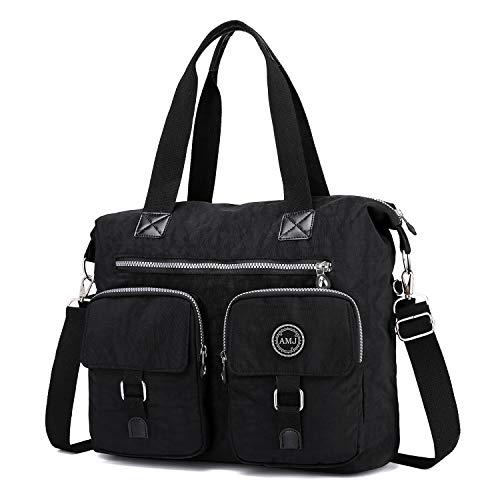 Crossbody Bags for Women Nylon, Waterproof Womens Hobo Bags Travel Handbag Purses Messenger Bag Shoulder Bag (Black)