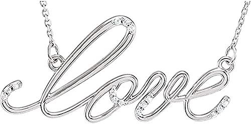 LKLFC Collar para Mujer Collar para Hombre Collar con Colgante con Colgante de Plata esterlina y Diamante 18 Collar con Colgante Regalo para niñas Niños