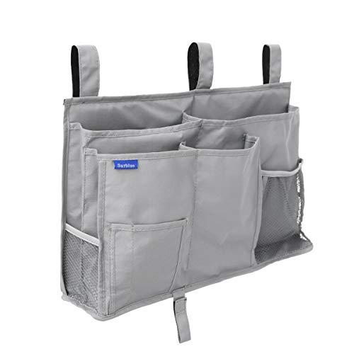 Surblue Bedside Caddy Hanging Bed Organizer Storage Bag Pocket for Bunk and Hospital Beds, College Dorm Rooms Baby Bed Rails,Camp (8 Pockets),Gray