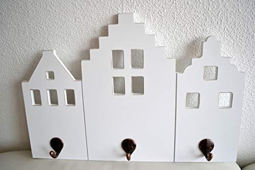 Preisvergleich Produktbild Hakenleiste Schluesselbrett ~ Hauswand ~ aus Holz mit 3 Haken weiss
