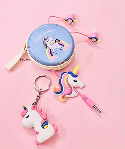 Le Delite Unicorn Cartoon Wired Earphones Gamer Music/ Stereo Earbuds Outdoor Sport Running Headphones Kids Children Girl Birthday Return Gift case Keychain (Combo 1)