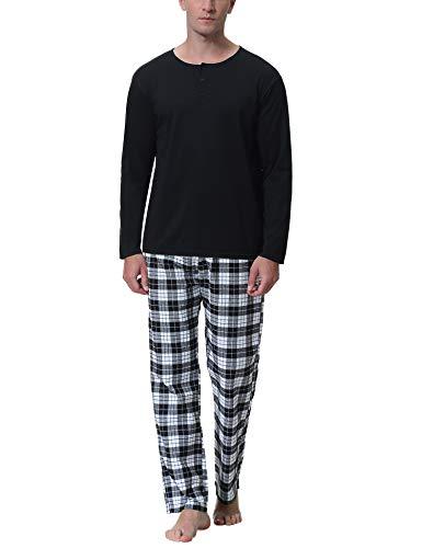 iClosam Pijama Hombre Algodón Invierno,Pijamas Cuadros Largos Ropa de Dormir Casual Suave y Cómodo Talla Grande S-XXL