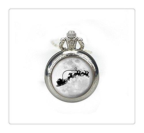 Reloj de bolsillo de Navidad Joyería Llena Luna Collar Joyería Plata Imagen Reloj Colgante Regalos para Su Trineo y Reno