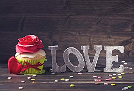 Leowefowa 5x3ft Vinyl Backdrop Happy Valentines Day Photography Background Words Love Cupcake Red Rose Shaped Hearts Card Wooden Wall Texture Vintage Background Photo Studio