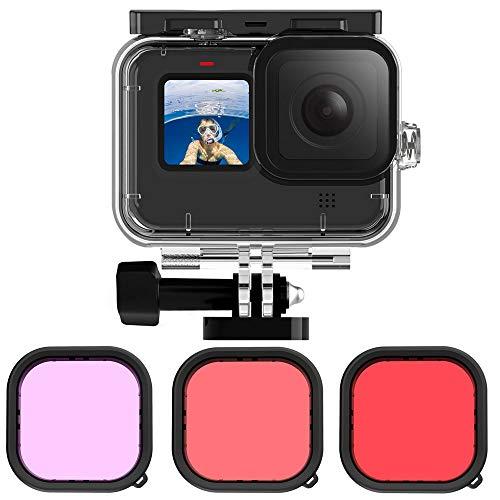 Linghuang Wasserdichtes Gehäuse und roter Filter für Tauchlinse Gopro Hero 9 Black Farbfilter Rot/Hellrot/Violett Zubehör-Set für Unterwasser-Tauch-Unterwasser-Tauch.