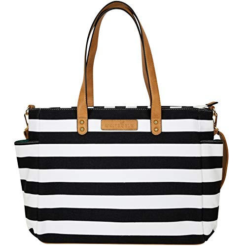 The Aquila Tote Bag by White Elm | Work Bag for Women | Canvas & Vegan Leather | Fits up to 17.3' Laptop | Built-in Pockets for Organization (Black Stripe)