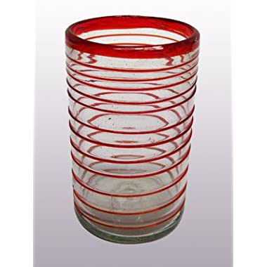 Mexican Blown Glass Drinking Glasses Ruby Red Spiral (Set of 6)